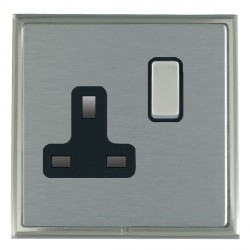Hamilton Linea-Scala CFX Satin Nickel/Satin Steel 1 Gang 13A Switched Socket - Double Pole with Black Insert