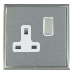 Hamilton Linea-Scala CFX Satin Nickel/Satin Steel 1 Gang 13A Switched Socket - Double Pole with White Insert