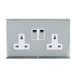 Hamilton Linea-Scala CFX Bright Chrome/Bright Chrome 2 Gang 13A Switched Socket - Double Pole with White Insert