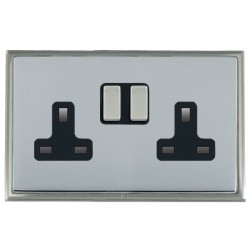 Hamilton Linea-Scala CFX Satin Nickel/Bright Steel 2 Gang 13A Switched Socket - Double Pole with Black Insert