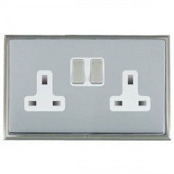 Hamilton Linea-Scala CFX Satin Nickel/Bright Steel 2 Gang 13A Switched Socket - Double Pole with White Insert