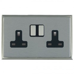 Hamilton Linea-Scala CFX Satin Nickel/Satin Steel 2 Gang 13A Switched Socket - Double Pole with Black Insert