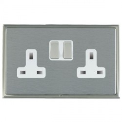 Hamilton Linea-Scala CFX Satin Nickel/Satin Steel 2 Gang 13A Switched Socket - Double Pole with White Insert