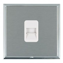 Hamilton Linea-Scala CFX Bright Chrome/Satin Steel 1 Gang Telephone Master with White Insert
