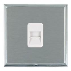 Hamilton Linea-Scala CFX Bright Chrome/Satin Steel 1 Gang Telephone Slave with White Insert