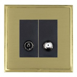 Hamilton Linea-Scala CFX Satin Brass/Satin Brass 1 Gang Non Isolated Television + Satellite with Black Insert
