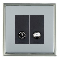 Hamilton Linea-Scala CFX Satin Nickel/Bright Steel 1 Gang Non Isolated Television + Satellite with Black Insert