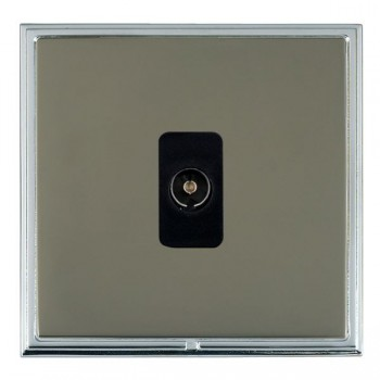 Hamilton Linea-Scala CFX Bright Chrome/Black Nickel 1 Gang Non Isolated Television 1in/1out with Black Insert