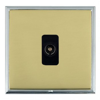 Hamilton Linea-Scala CFX Bright Chrome/Polished Brass 1 Gang Non Isolated Television 1in/1out with Black Insert
