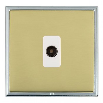 Hamilton Linea-Scala CFX Bright Chrome/Polished Brass 1 Gang Non Isolated Television 1in/1out with White Insert