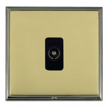 Hamilton Linea-Scala CFX Black Nickel/Polished Brass 1 Gang Non Isolated Television 1in/1out with Black Insert