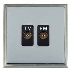 Hamilton Linea-Scala CFX Satin Nickel/Bright Steel 2 Gang Isolated Television/FM 1in/2out with Black Insert