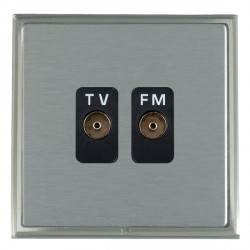 Hamilton Linea-Scala CFX Satin Nickel/Satin Steel 2 Gang Isolated Television/FM 1in/2out with Black Insert