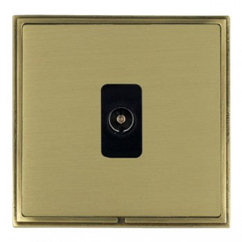 Hamilton Linea-Scala CFX Antique Brass/Satin Brass 1 Gang Isolated Television with Black Insert