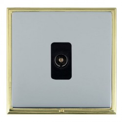 Hamilton Linea-Scala CFX Polished Brass/Bright Steel 1 Gang Non Isolated Television 1in/1out with Black Insert
