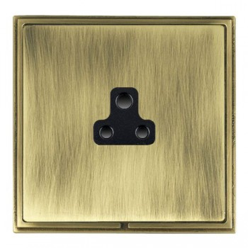 Hamilton Linea-Scala CFX Antique Brass/Antique Brass 1 Gang 2A Unswitched Socket with Black Insert