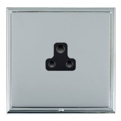 Hamilton Linea-Scala CFX Bright Chrome/Bright Steel 1 Gang 2A Unswitched Socket with Black Insert