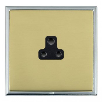 Hamilton Linea-Scala CFX Bright Chrome/Polished Brass 1 Gang 2A Unswitched Socket with Black Insert