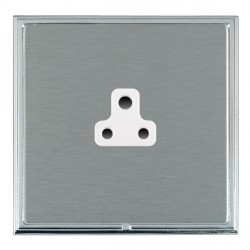 Hamilton Linea-Scala CFX Bright Chrome/Satin Steel 1 Gang 2A Unswitched Socket with White Insert