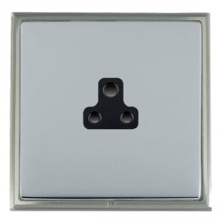 Hamilton Linea-Scala CFX Satin Nickel/Bright Steel 1 Gang 2A Unswitched Socket with Black Insert