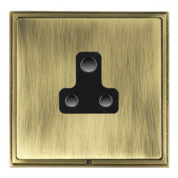 Hamilton Linea-Scala CFX Antique Brass/Antique Brass 1 Gang 5A Unswitched Socket with Black Insert