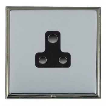 Hamilton Linea-Scala CFX Black Nickel/Bright Steel 1 Gang 5A Unswitched Socket with Black Insert