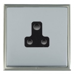 Hamilton Linea-Scala CFX Satin Nickel/Bright Steel 1 Gang 5A Unswitched Socket with Black Insert