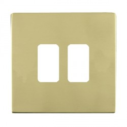 Hamilton Sheer CFX Grid Polished Brass 2 Gang Concealed Fix Grid Fix Aperture Plate with Grid