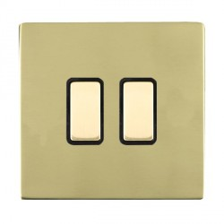 Hamilton Sheer CFX Polished Brass 2 Gang Multi way Touch Master Trailing Edge with Black Insert