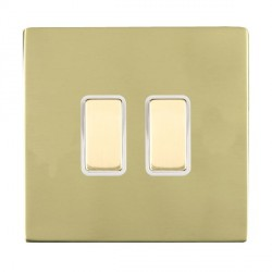 Hamilton Sheer CFX Polished Brass 2 Gang Multi way Touch Slave Trailing Edge with White Insert