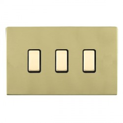 Hamilton Sheer CFX Polished Brass 3 Gang Multi way Touch Slave Trailing Edge with Black Insert