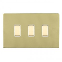 Hamilton Sheer CFX Polished Brass 3 Gang Multi way Touch Slave Trailing Edge with White Insert