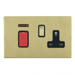 Hamilton Sheer CFX Polished Brass 1 Gang Double Pole 45A Red Rocker + 13A Switched Socket with Black Insert
