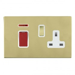 Hamilton Sheer CFX Polished Brass 1 Gang Double Pole 45A Red Rocker + 13A Switched Socket with White Insert
