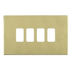 Hamilton Sheer CFX Grid Polished Brass 4 Gang Concealed Fix Grid Fix Aperture Plate with Grid