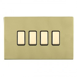 Hamilton Sheer CFX Polished Brass 4 Gang Multi way Touch Slave Trailing Edge with Black Insert