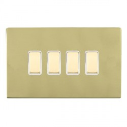 Hamilton Sheer CFX Polished Brass 4 Gang Multi way Touch Slave Trailing Edge with White Insert