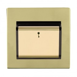 Hamilton Sheer CFX Polished Brass 1 Gang On/Off 10A Card Switch with Blue LED Locator with Black Insert