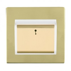 Hamilton Sheer CFX Polished Brass 1 Gang On/Off 10A Card Switch with Blue LED Locator with White Insert
