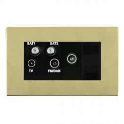 Hamilton Sheer CFX Polished Brass TV+FM+SAT+SAT (DAB Compatible)+TV+TCS (DAB Compatible) with Black Insert