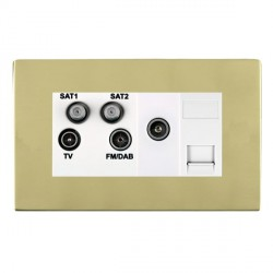 Hamilton Sheer CFX Polished Brass TV+FM+SAT+SAT (DAB Compatible)+TV+TCS (DAB Compatible) with White Insert