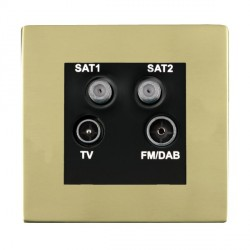 Hamilton Sheer CFX Polished Brass TV+FM+SAT+SAT (DAB Compatible) with Black Insert