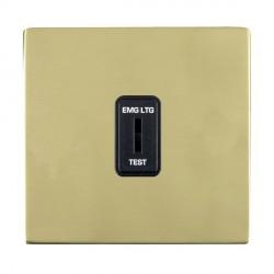 Hamilton Sheer CFX Polished Brass 1 Gang 2 Way Key Switch 'EMG LTG TEST' with Black Insert