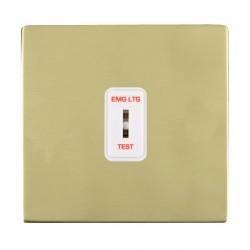 Hamilton Sheer CFX Polished Brass 1 Gang 2 Way Key Switch 'EMG LTG TEST' with White Insert