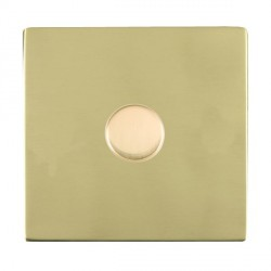 Hamilton Sheer CFX Polished Brass Push On/Off Dimmer 1 Gang Multi-way 250W/VA Trailing Edge with Polished Brass Insert
