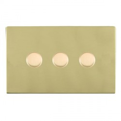 Hamilton Sheer CFX Polished Brass Push On/Off Dimmer 3 Gang Multi-way 250W/VA Trailing Edge with Polished Brass Insert