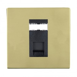 Hamilton Sheer CFX Polished Brass 1 Gang RJ12 Outlet Unshielded with Black Insert