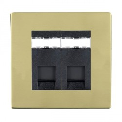 Hamilton Sheer CFX Polished Brass 2 Gang RJ45 Outlet Cat 5e Unshielded with Black Insert