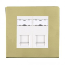 Hamilton Sheer CFX Polished Brass 2 Gang RJ45 Outlet Cat 5e Unshielded with White Insert