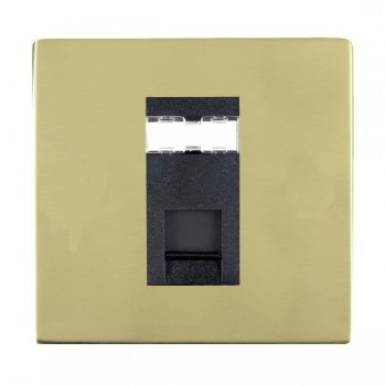 Hamilton Sheer CFX Polished Brass 1 Gang RJ45 Outlet Cat 5e Unshielded with Black Insert